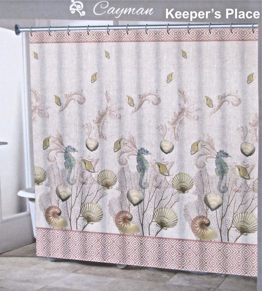 Traditions CAYMAN Fabric Shower Curtain Sea Shells Seahorse Blue Cream New NauticalBeach