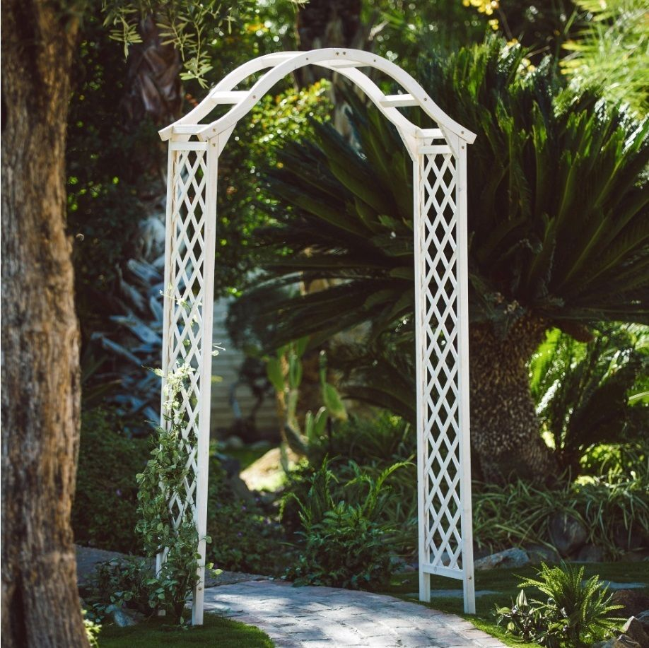 Garden arch and arbor wooden garden trellis white lattice for Wood lattice trellis