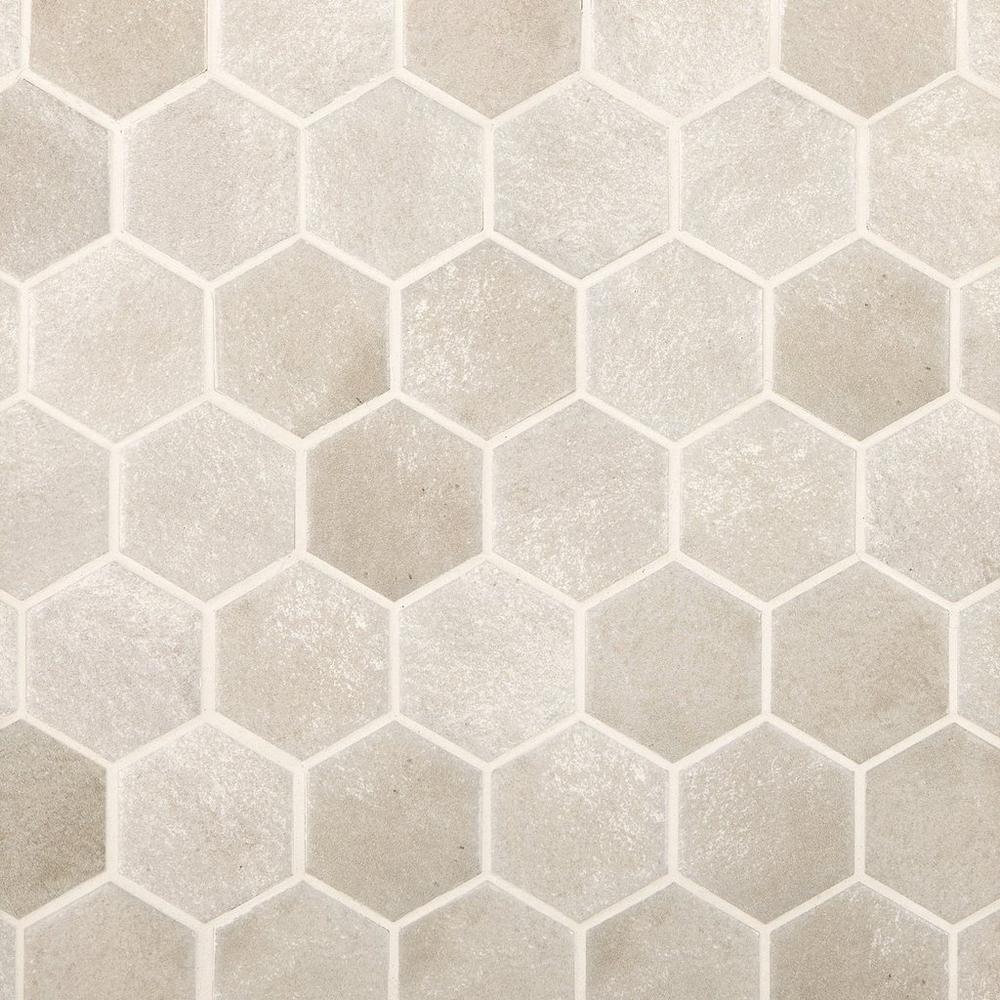 Gray Concrete Matte Hexagon Porcelain Mosaic Porcelain Mosaic Bathroom Concrete Floor Hexagon Tile Floor