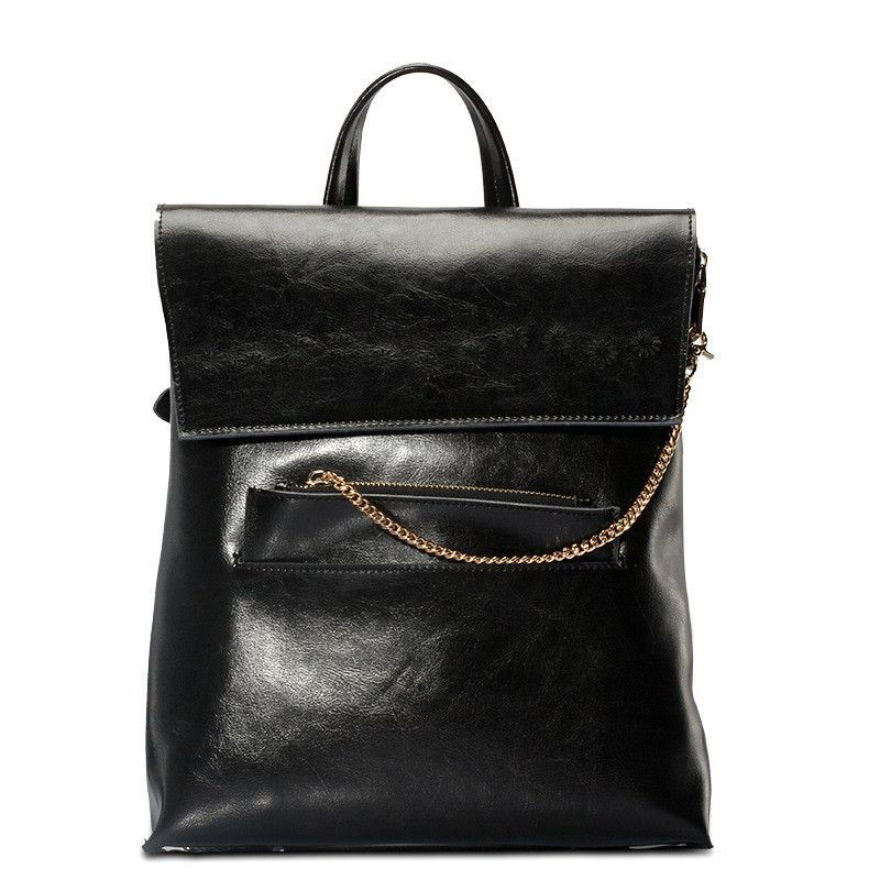 Vintage Brown Backpack Retro Oil Wax Leather Ladies Backpack Bags Back Pack Women Genuine Leather - POKWI