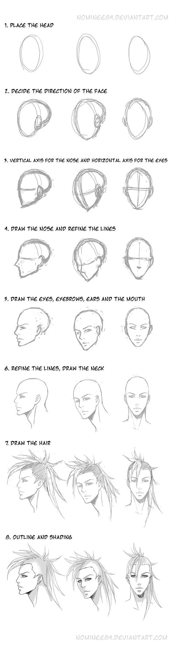 how i draw head n face by =nominee84 on deviantART: