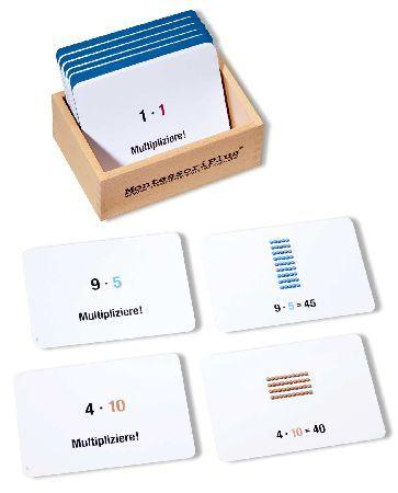 100 Arbeitskarten zum Perlenmaterial zur Multiplikation. So geht Montessori-Pädagogik heute.