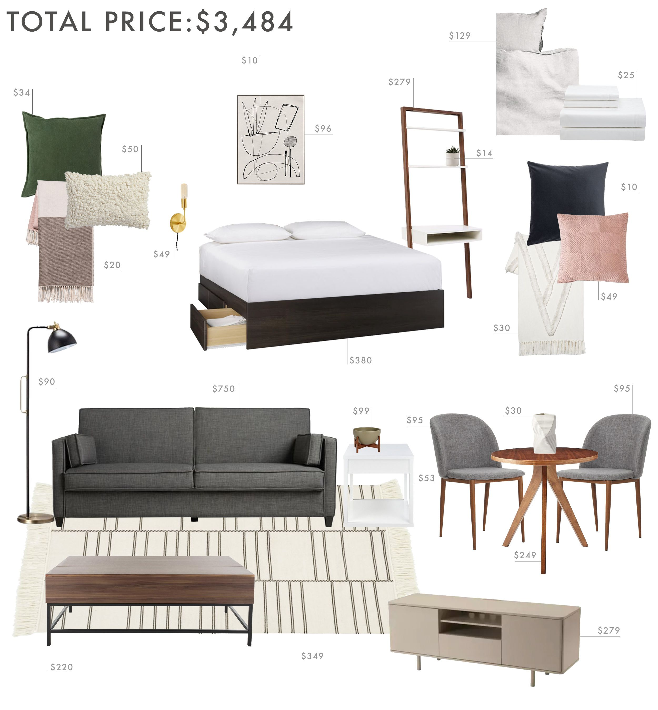3 Budgets 3 Designs How To Decorate A Studio Apartment Apartment Decor Studio Apartment Furniture Apartment Design Inspiration
