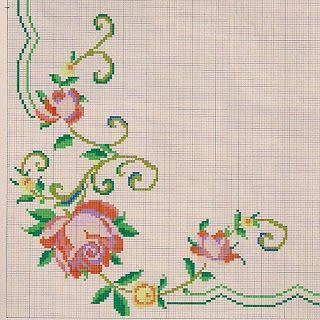 graficos so de flores para cama e mesa em ponto cruz pinretes - Pesquisa Google