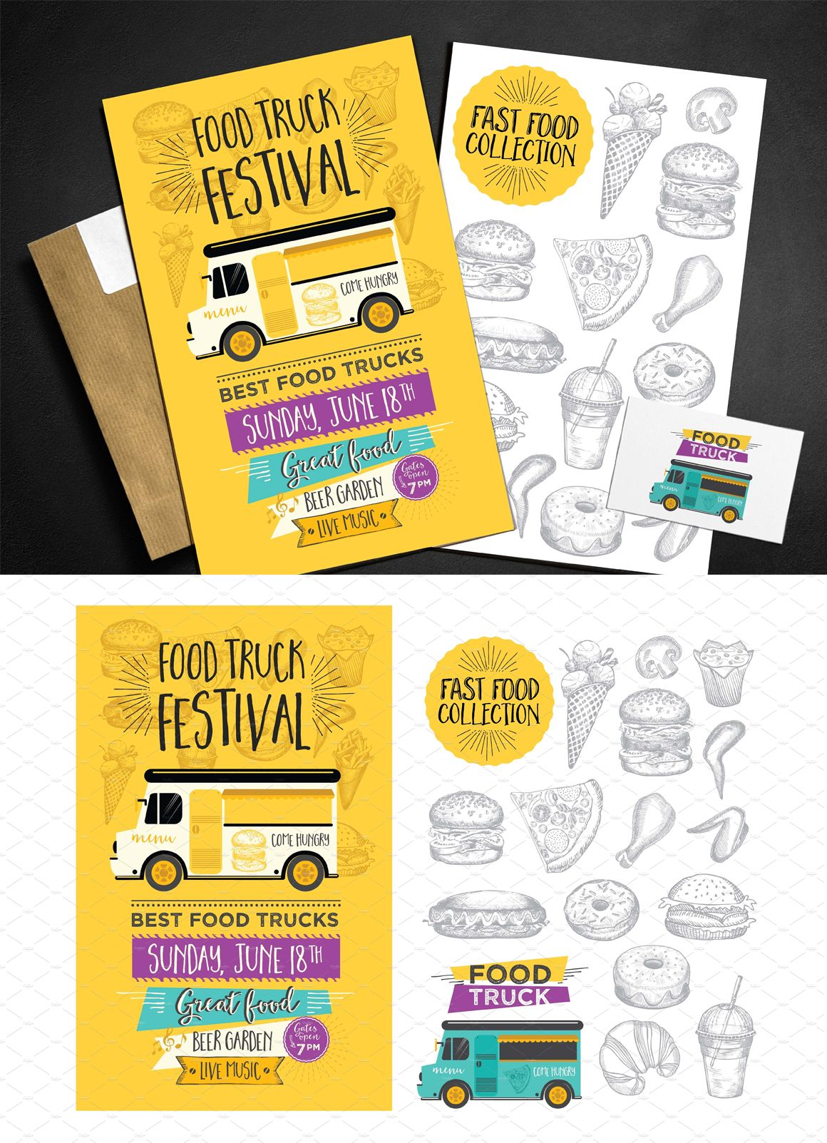 Food Truck Menu Template Eps Pdf Brochure Design Templates