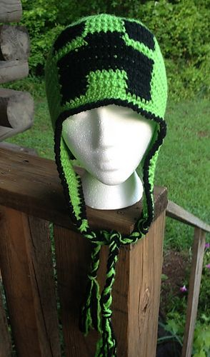 Crochet Minecraft Creeper Beanie Hat Pattern Download Activities