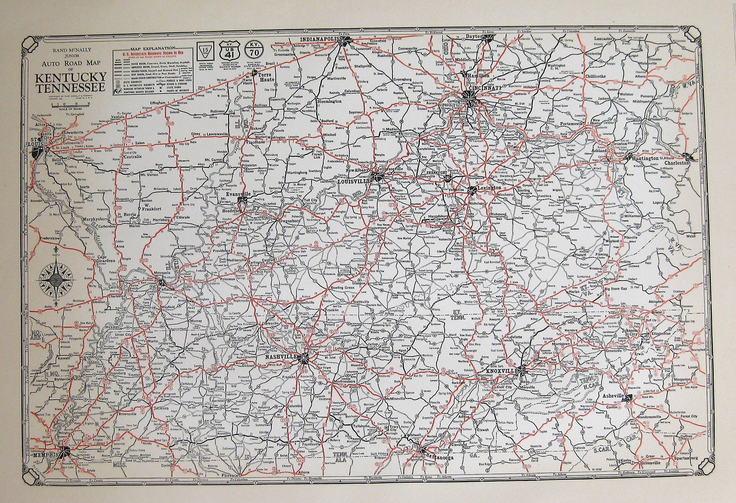 1932 Antique State Map of KENTUCKY and TENNESSEE Road Map ...