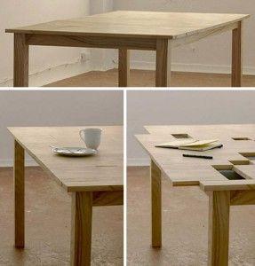 Table With Secret Desk Compartments Hidden Under Sliding Panels