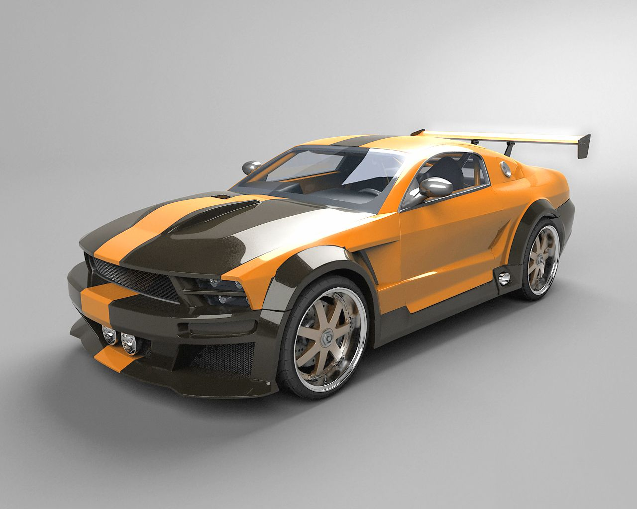 Mustang car fast mustang tuned yellow black line