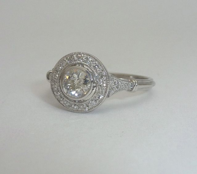 Edwardian 0 64ct Diamond Target Ring In Platinum Jewelry Vintage Jewelry Engagement Rings