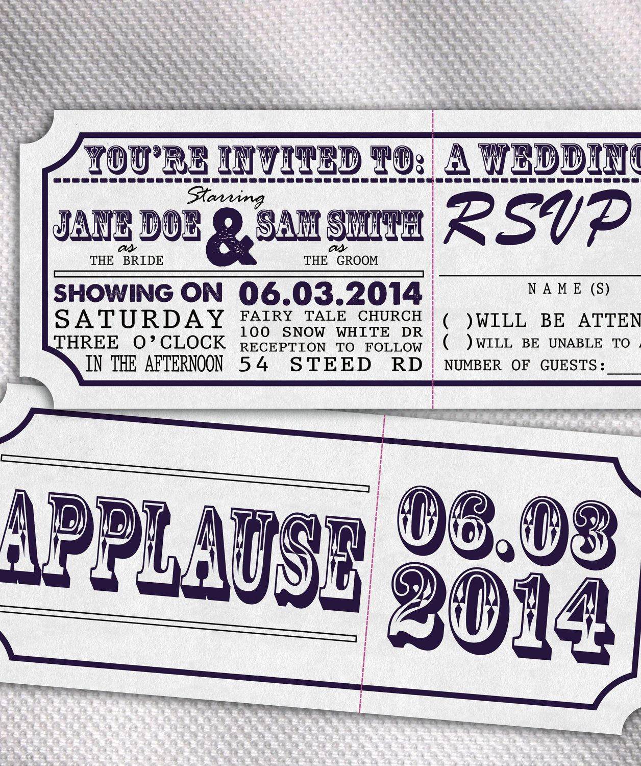 SAMPLE Movie Ticket Wedding Invitation Set by AprilSanson on Etsy, $2.75