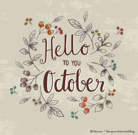 Hello October. The Trend Calligraphy. Stock Vector - Illustration ...