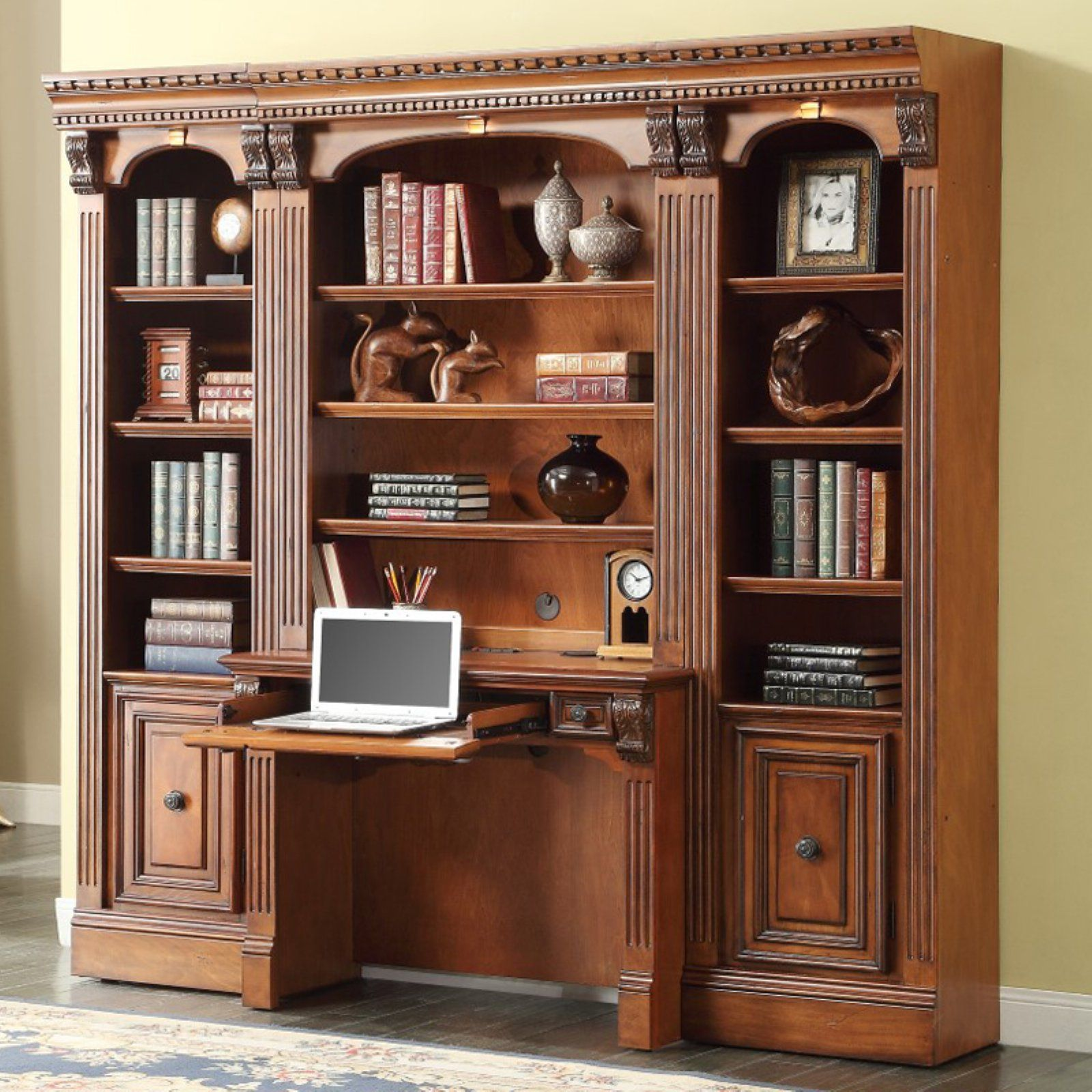 Parker House Huntington Space Saver Bookcase Library Wall With 2 Piece Library Desk In 2020 Library Desk Parker House Bookcase