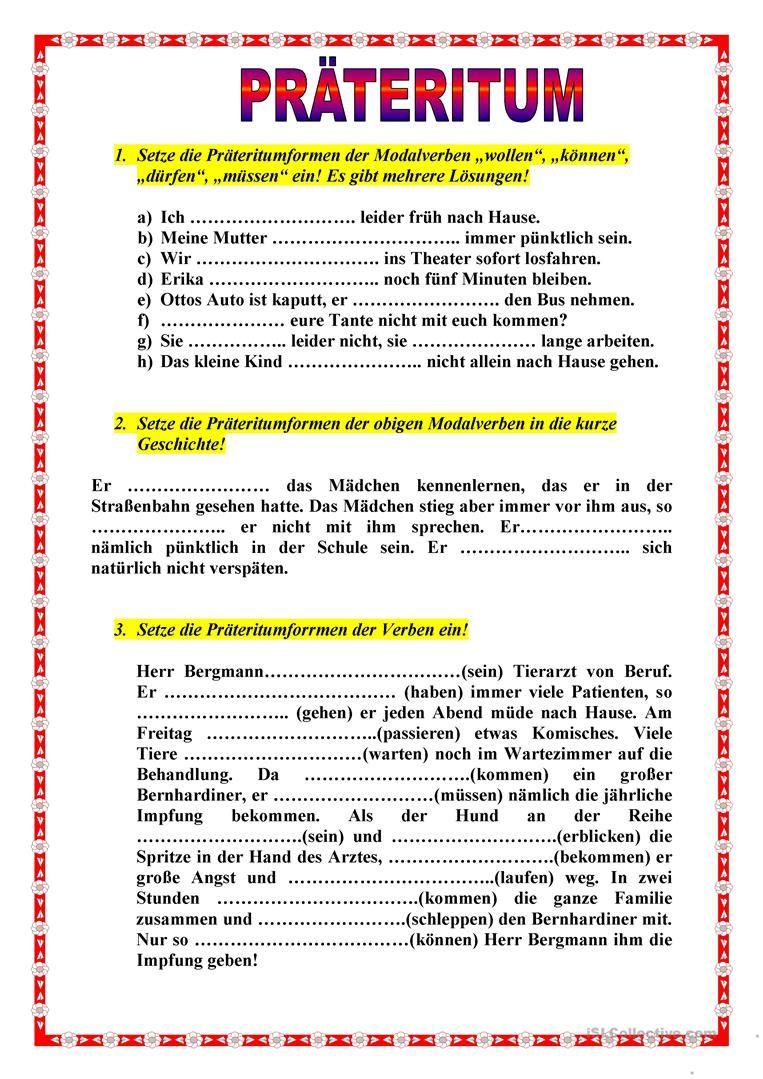 Präteritum Deutsch Arbeitsblätter Deutsch Und Deutsch Lernen