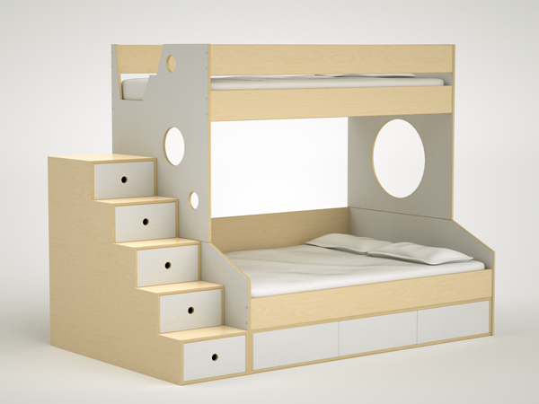 The Twin-over-Full with white accents. #modern #bunkbed | MUEBLES ...