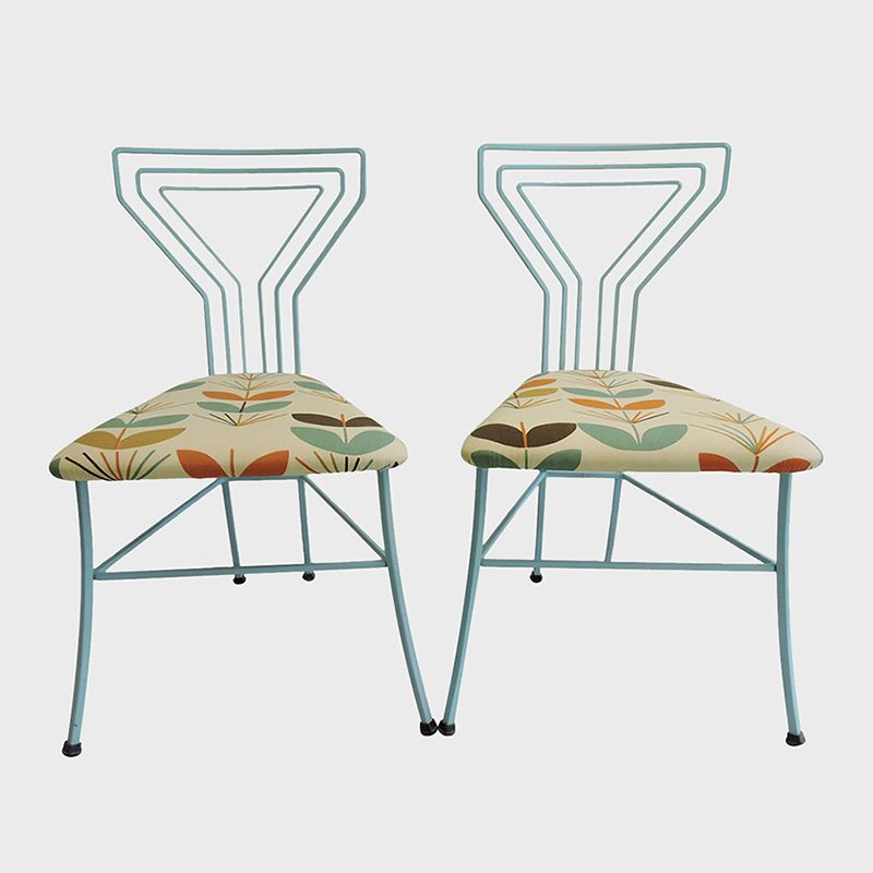 "Pair of Modern Upholstered Seat ""Martini Glass"" Wrought Iron Kitchen Chairs www.rareelements.com"