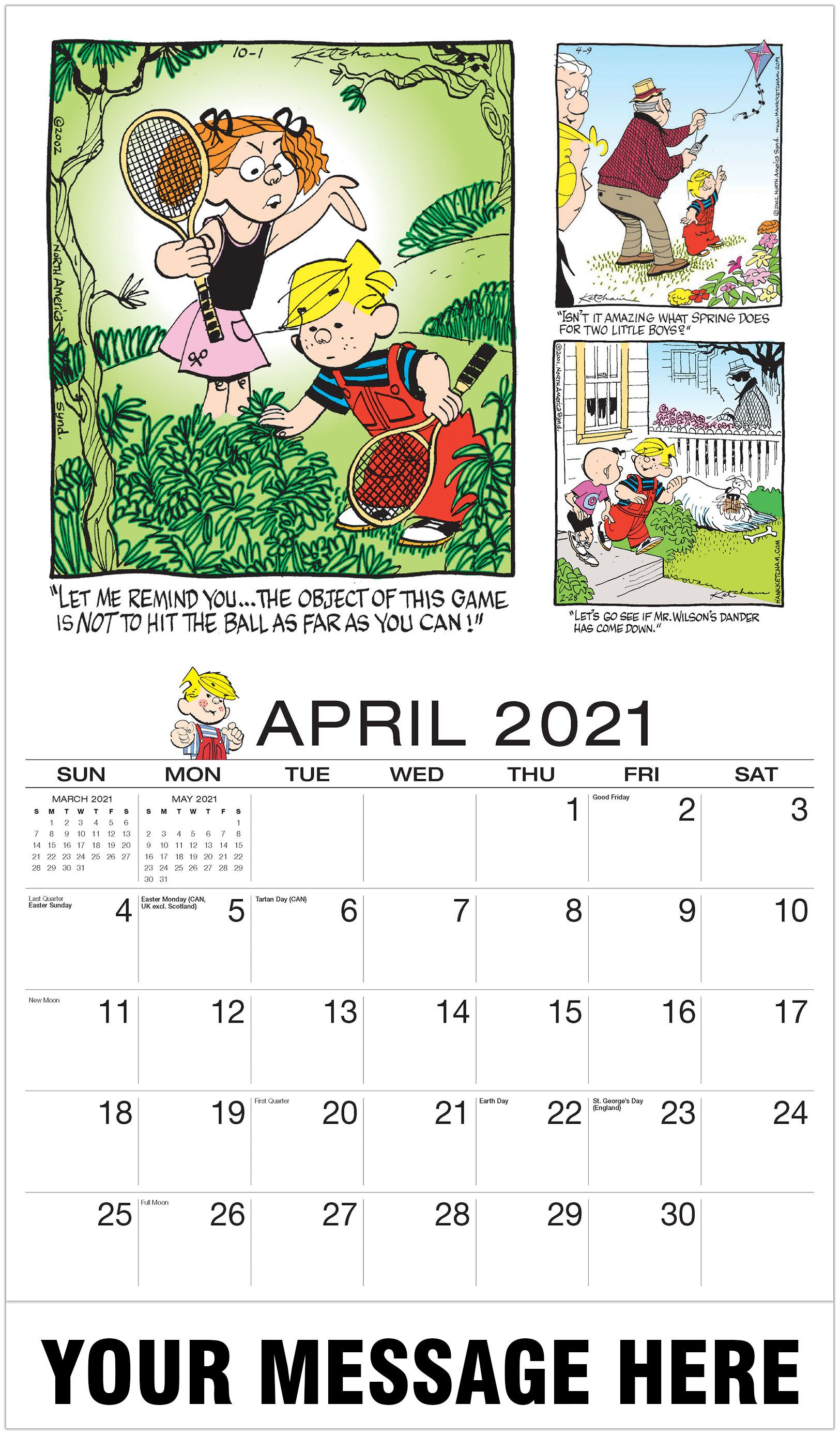 2021 Promotional Calendar Dennis The Menacecomic Art Calendar April2021 Dennis The Menace Art Calendar In 2020 Dennis The Menace Art Calendar Advertising Calendar