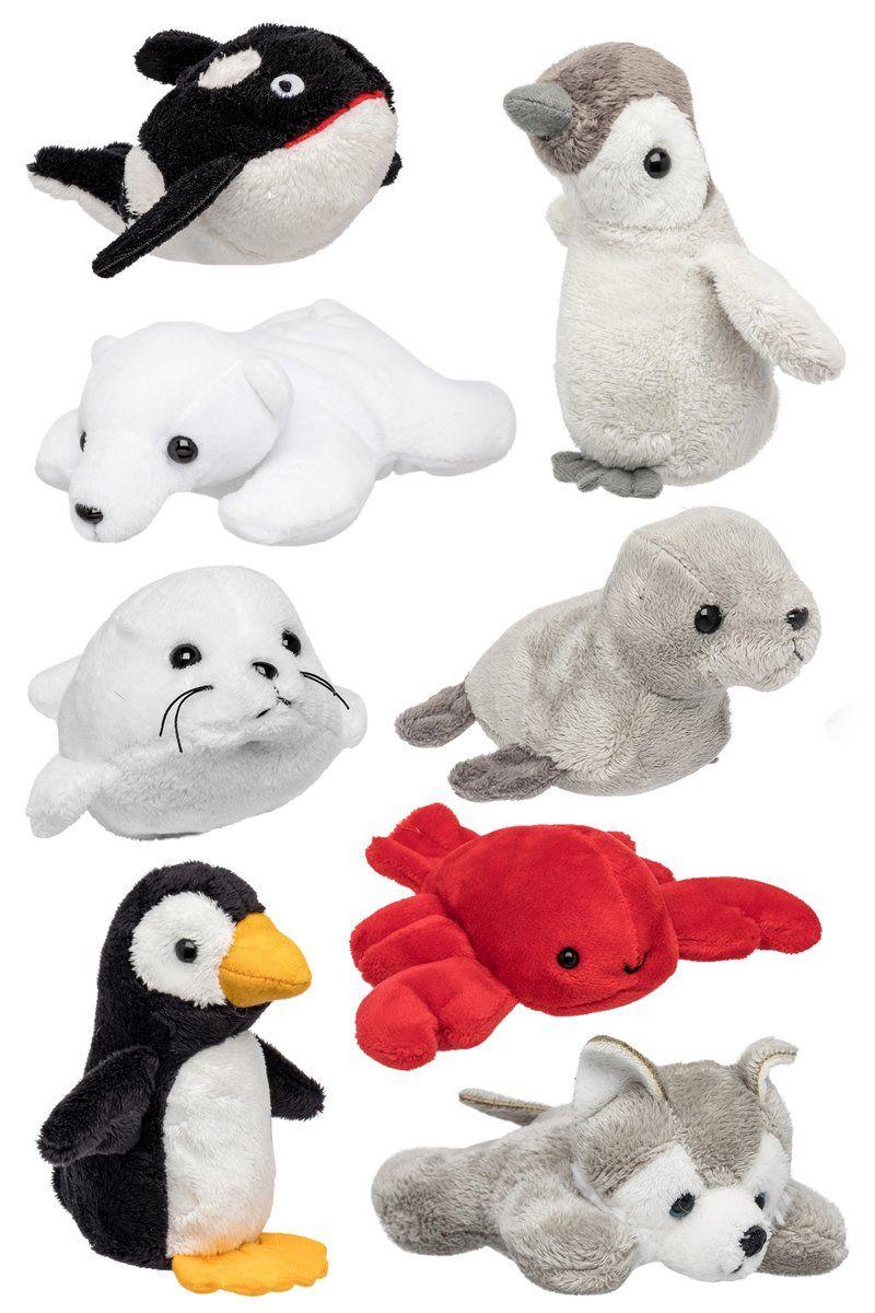 Bulk 8 Pack Arctic Mini 4 Inch Stuffed Animals, Variety of