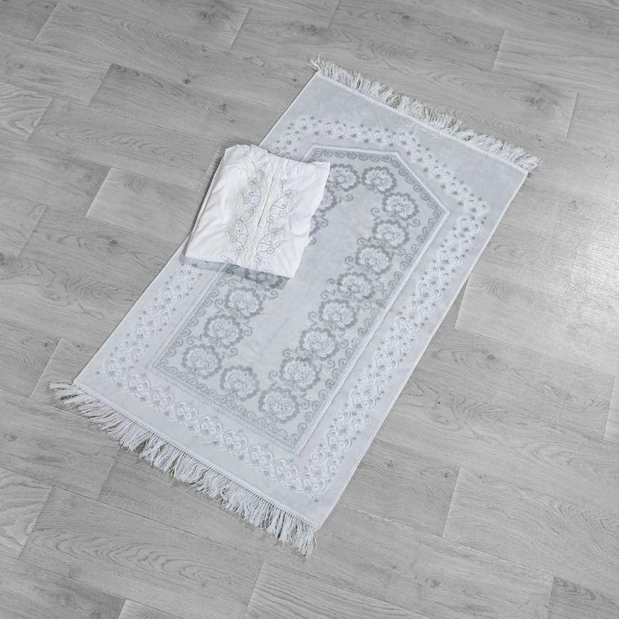 طقم سجادة صلاة عرائس مطرز أبيض و رصاصي فاتح عدد القطع 2 Rugs Carpet Prayers