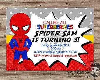 Spider Man and Venom Birthday Invitation Invite Superhero and