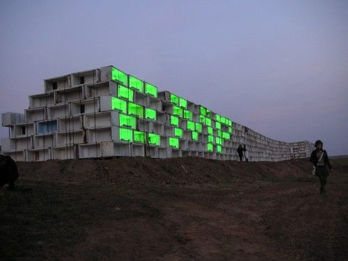 RETURN OF THE FRIDGES_ REFUNC.NL/DENIS OUDENDIJK, JAN KÖRBES/MANTAS LESAUSKAS_for a fridge recycling plant in lithuania we built a really big wall from 800 used fridges some were used as 'frixel' which is just like a pixel but fridge-sized…