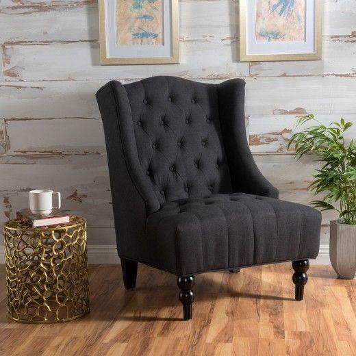 Marvelous Toddman High Fabric Club Chair Dark Charcoal Christopher Machost Co Dining Chair Design Ideas Machostcouk