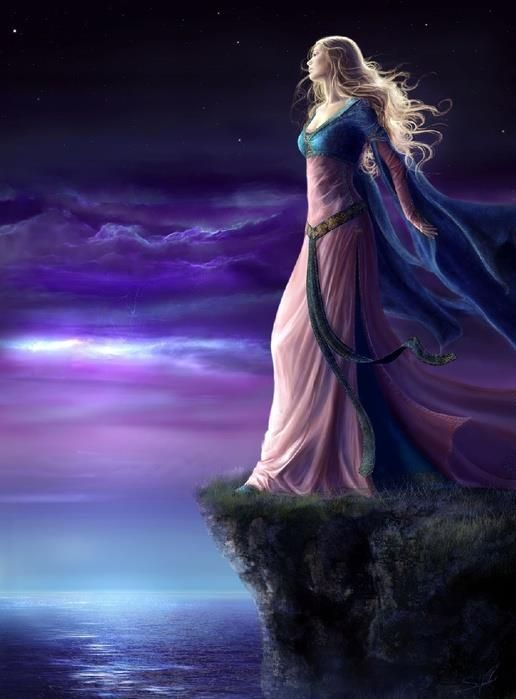 Image result for woman on cliff at night purple