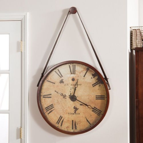 Hanging Decorative 24 In Wall Clock With Faux Leather Strap Clocks At Hayneedle Antique Decor