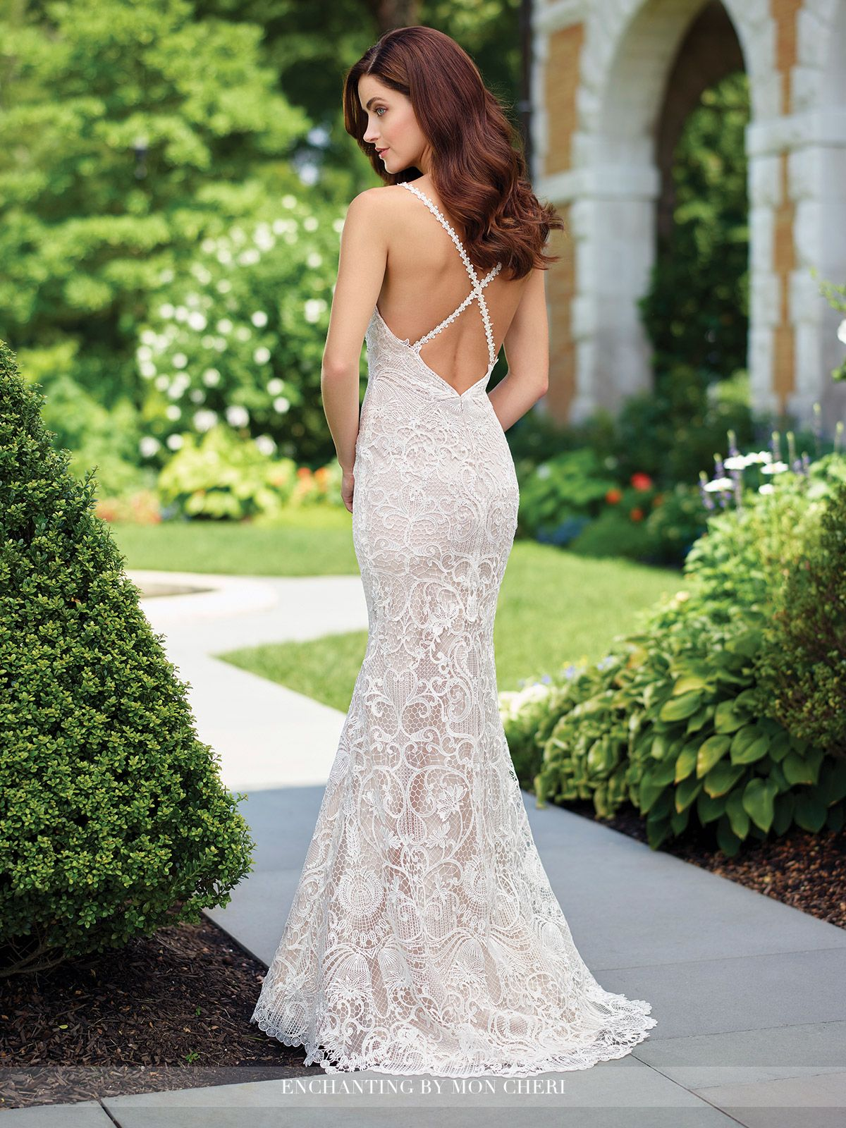 ee08aebd59db Enchanting by Mon Cheri - 117179 - Sleeveless chiffon and tulle fit and flare  gown with allover hand-beaded and embroidered lace, beaded lace spaghetti  ...