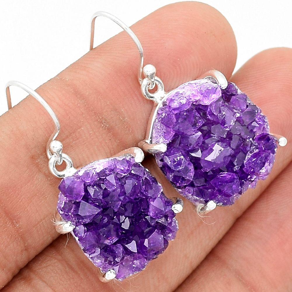 Amethyst Druzy 925 Sterling Silver Earrings Jewelry AMDE156 - JJDesignerJewelry
