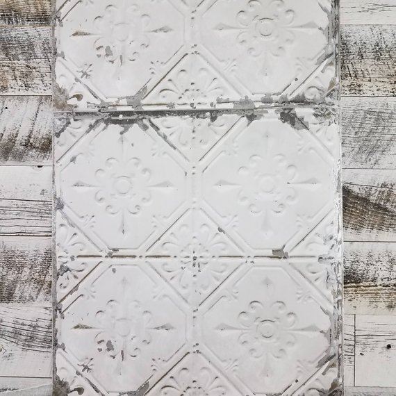 Peel And Stick Wallpops Vintage Rustic Tin Ceiling Tile Etsy Tin Ceiling Tin Ceiling Tiles White Tin Ceiling