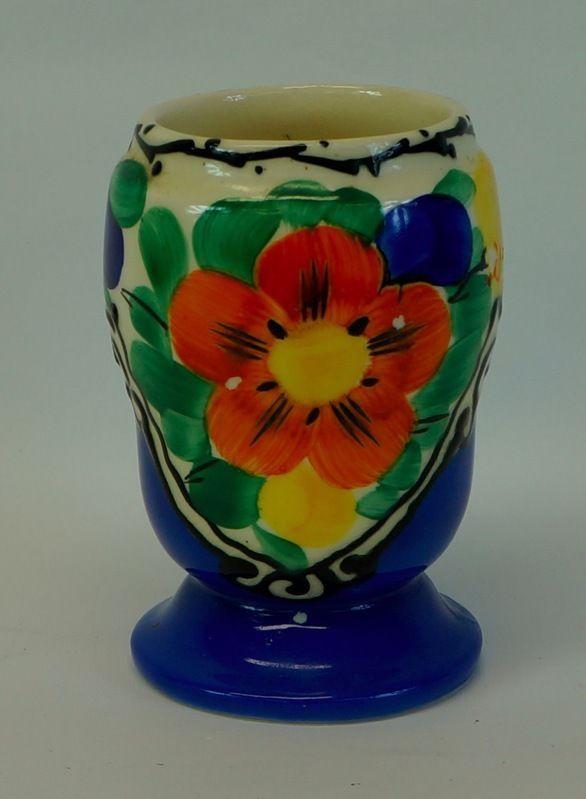 Czechoslovakia Vase Art Deco Hand Painted Vintage Multi