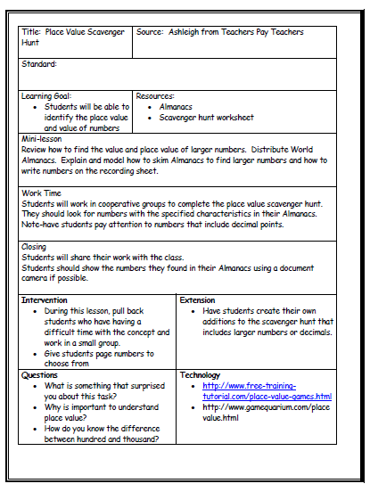 Lesson Plan Template  Projects To Try    Lesson Plan