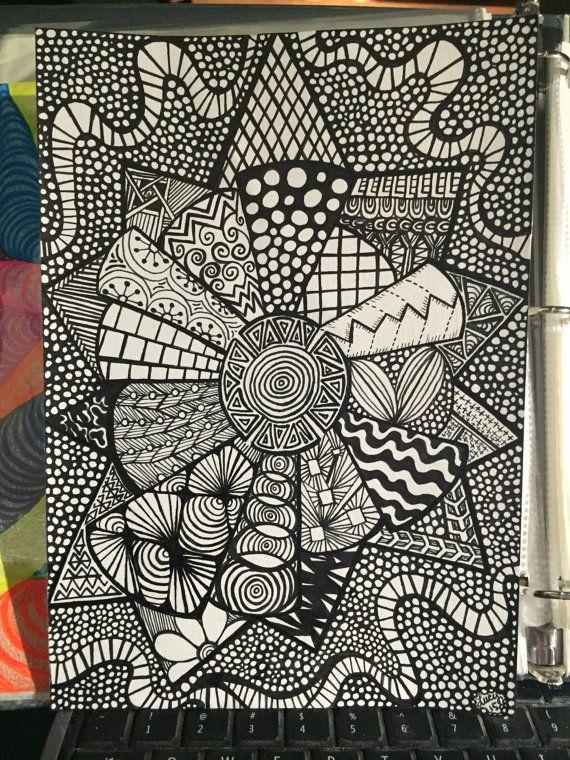 Explode Mandala Original Zentangle Artwork by TheChaoticPawPrints