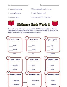 FREE Dictionary Worksheets with Answer Keys - Rachel Lynette ...