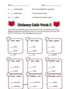 Dictionary & Thesaurus Skills Worksheets - Ashleigh ...