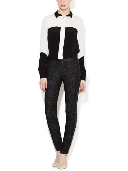 MARNA RO - Cheviot Pant with Leather Trim
