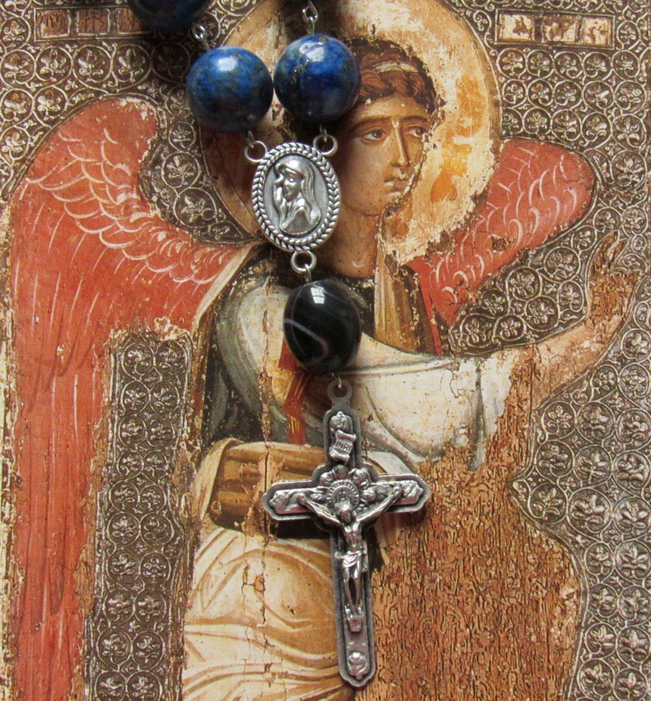 Lapis Lazuli Catholic chaplet/rosary, Ave Maria by #TripleTwisting on Etsy