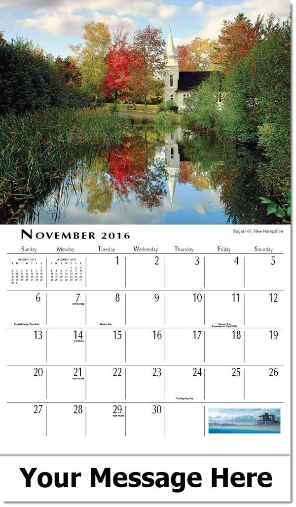 Scenes Of New England 2016 Promotional Calendar Datepad Features Large Squares For Scheduling Appoi Business Calendar Advertising Calendar