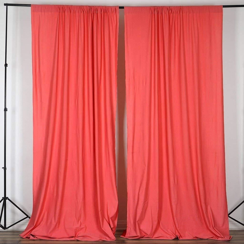 10 Feet X 10 Feet Coral Polyester Poplin Backdrop Drape Curtains Photography Event Decor 1 Pair Panel Curtains Custom Drapes Curtains