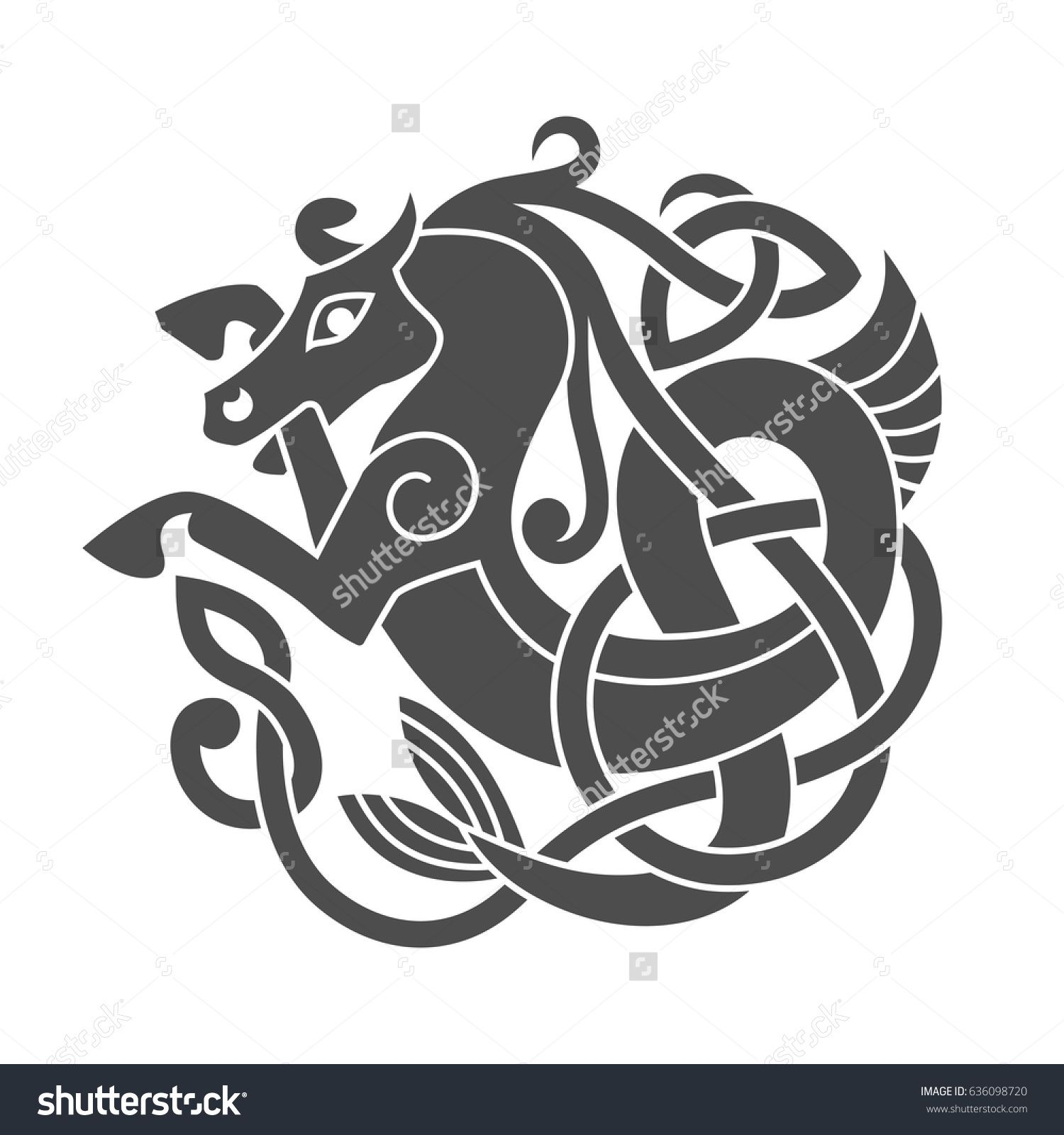 Ancient Celtic Mythological Symbol Of Sea Horse Vector Knot