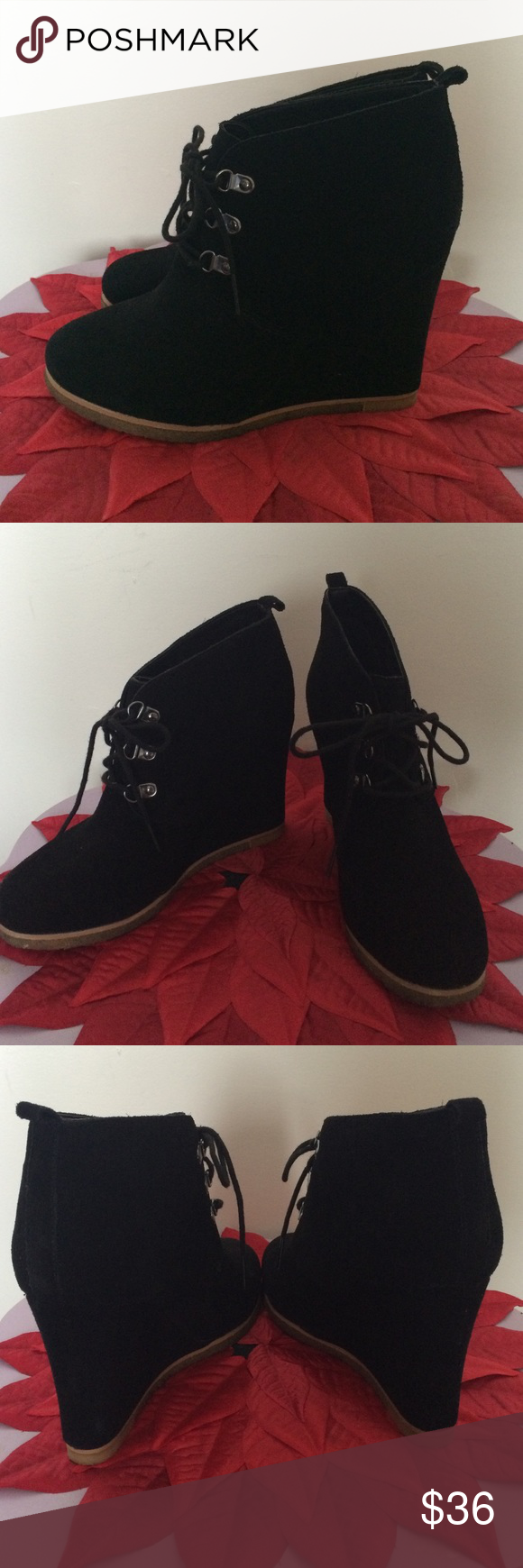 Steve Madden booties All black Steve Madden wedge booties. They have three loops for the short laces. They were a gift an I only wore them twice because they were too big. Steve Madden Shoes Wedges