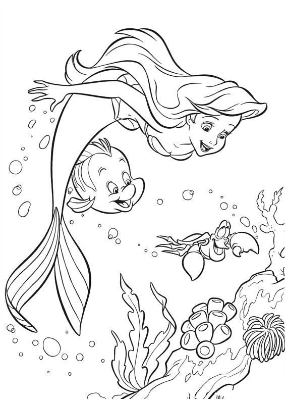 Flounder Biting Flower Cartoon Coloring Page Free Printable