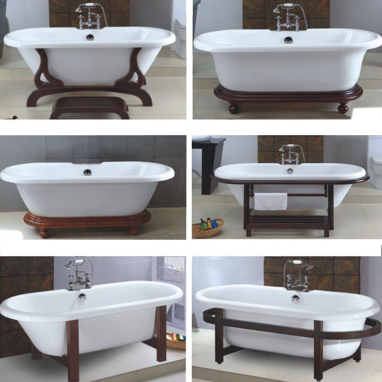 Double Ended Bathtub W Wooden Cradle Feet Clawfoot Tub Wooden Cradle Tub