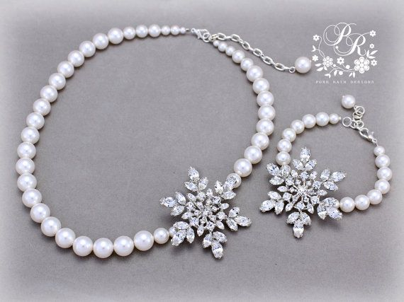 Wedding Necklace Bracelet set Swarovski Pearl Rhinestone Snowflake