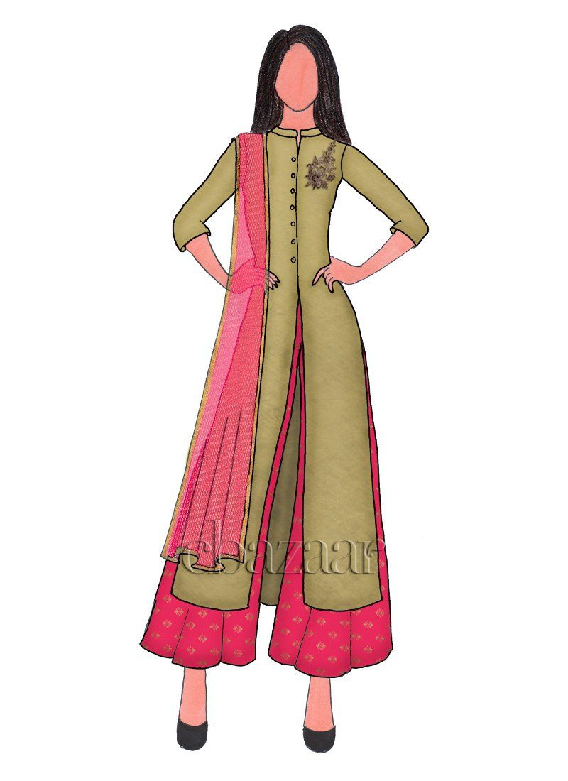 Pink dress drawing  Olivenite Soft Silk Embroidered Palazzo Suit  Illustrations