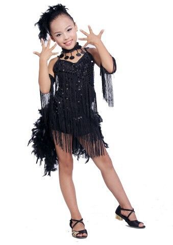 218d761bab DB23553 fringe feather sequin latin dance dress-11 Vestidos De Danza