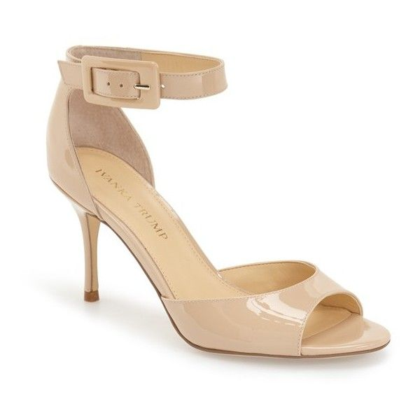 """Ivanka Trump 'Gladly' Sandal, 3 1/4"""" heel (€115) ❤ liked on Polyvore featuring shoes, sandals, latte patent, ankle strap high heel sandals, high heel shoes, ivanka trump sandals, ankle strap sandals and synthetic shoes"""