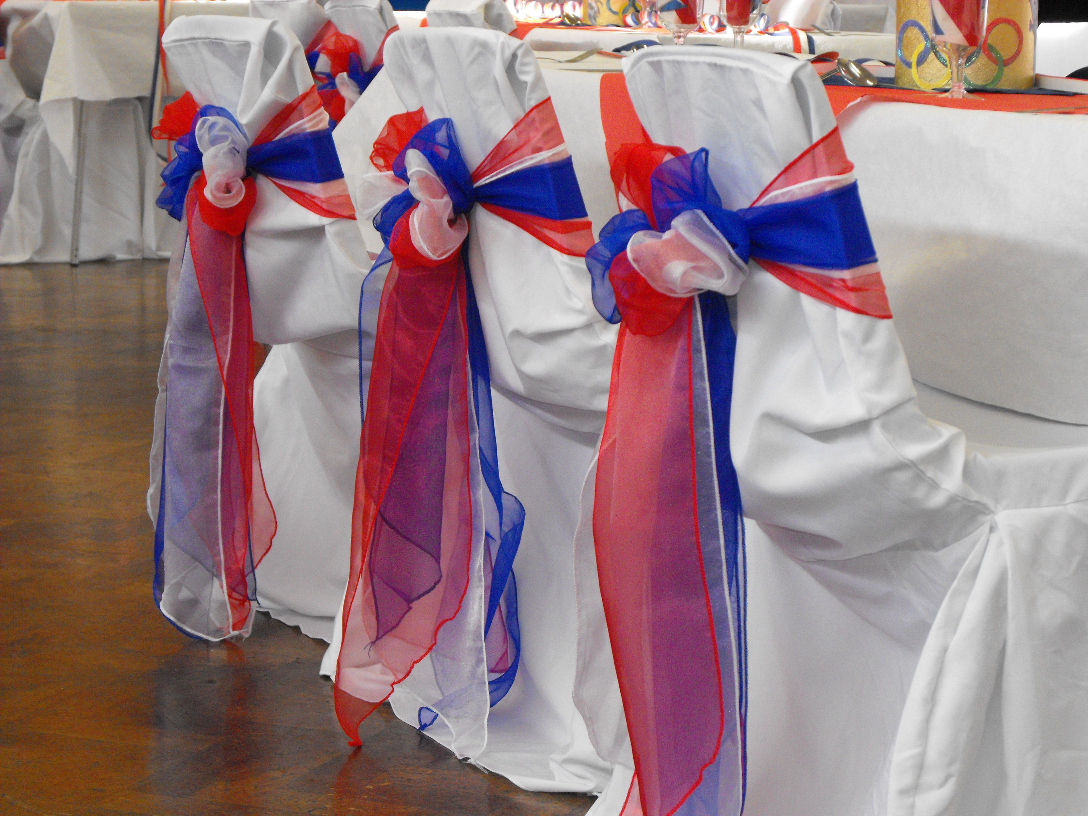 Red White and Royal Blue Organza Triple Bows on White Chair
