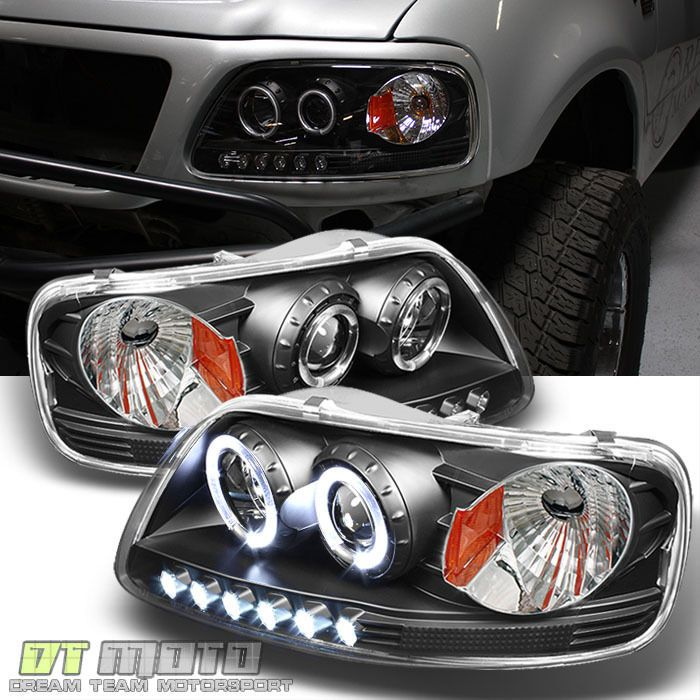 Blk 1997 2003 F150 Expedition Led Halo Projector Headlights W Corner Left Right Dtmoto F150 Led Halos 2003 F150